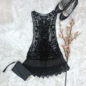 Maurices Black Lace Sheer Fashion Tank SZ S